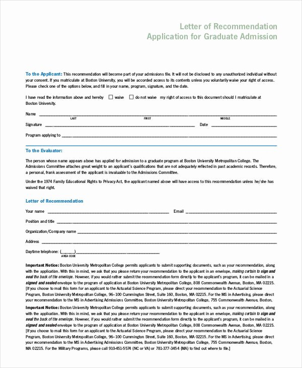 Letter Of Recommendation for Masters Beautiful 94 Best Free Application Letter Templates & Samples Pdf