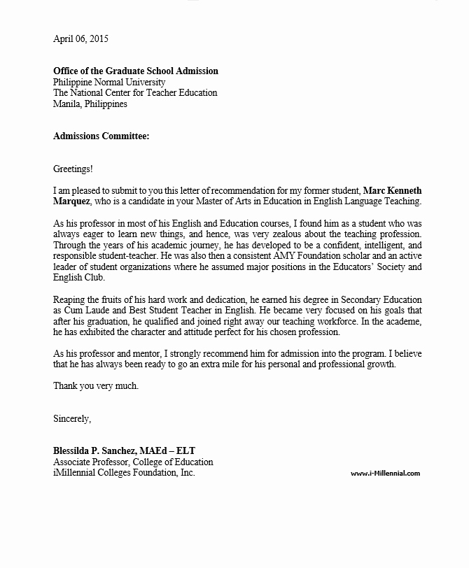 Letter Of Recommendation for Masters Beautiful Sample Graduate School Re Mendation Letter