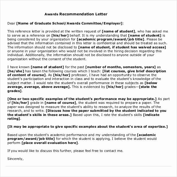 Letter Of Recommendation for Masters Fresh 44 Sample Letters Of Re Mendation for Graduate School