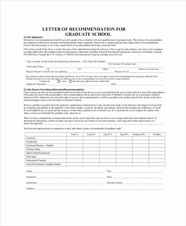 Letter Of Recommendation for Masters Lovely 44 Sample Letters Of Re Mendation for Graduate School