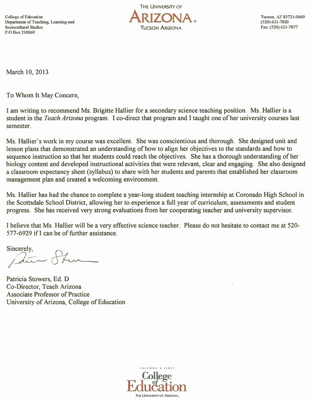 Letter Of Recommendation for Masters New Letter Re Mendation for Masters Program