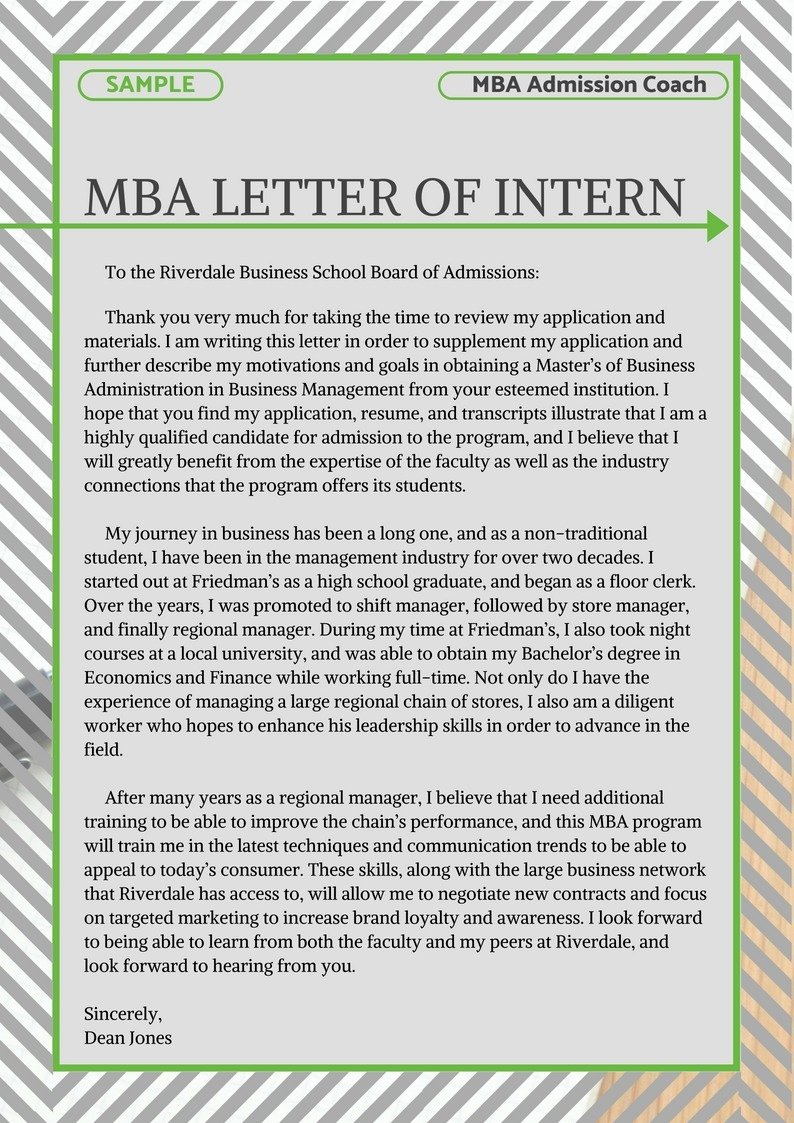 Letter Of Recommendation for Mba Inspirational Mba Letter Of Intent Sample
