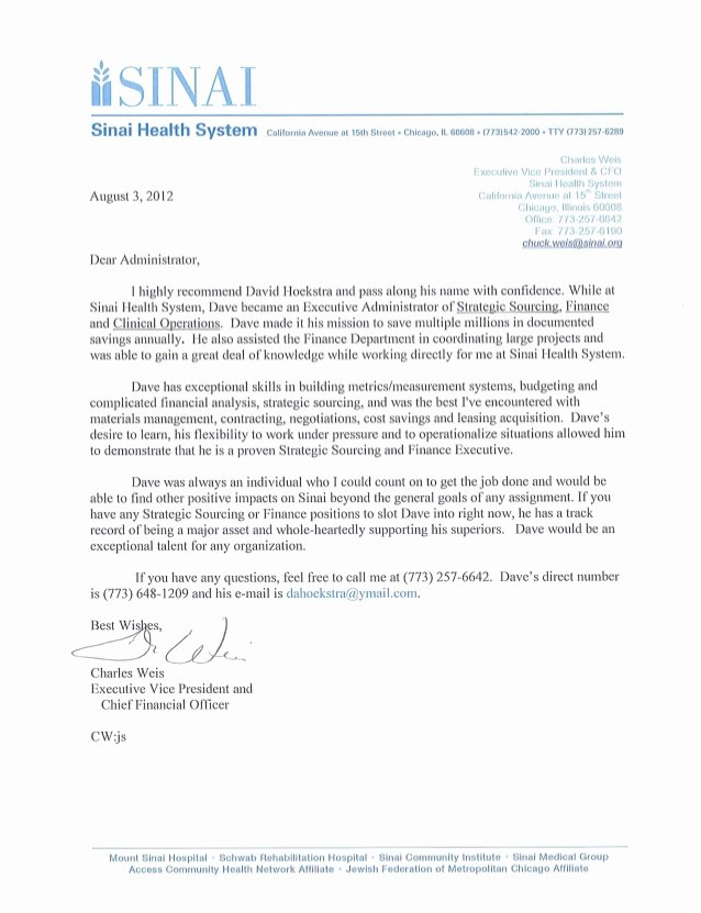 Letter Of Recommendation for Mba Luxury Chuck Weis Cfo and Evp Of Finance Sinai Health System