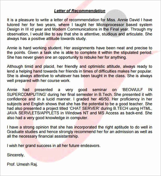 Letter Of Recommendation for Ms Beautiful 55 Re Mendation Letter Template Free Word Pdf formats