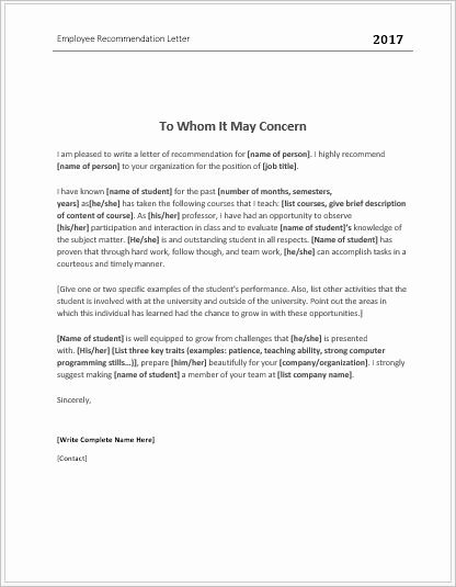 Letter Of Recommendation for Ms Beautiful Employee Re Mendation Letter Templates for Ms Word