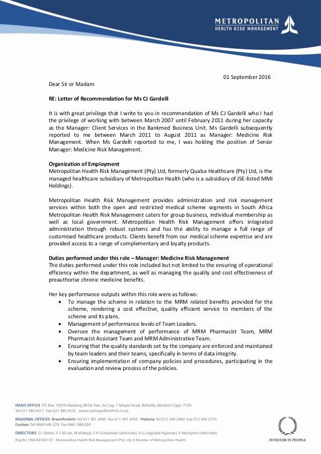 Letter Of Recommendation for Ms Lovely Letter Of Re Mendation for Ms Cj Gardelli