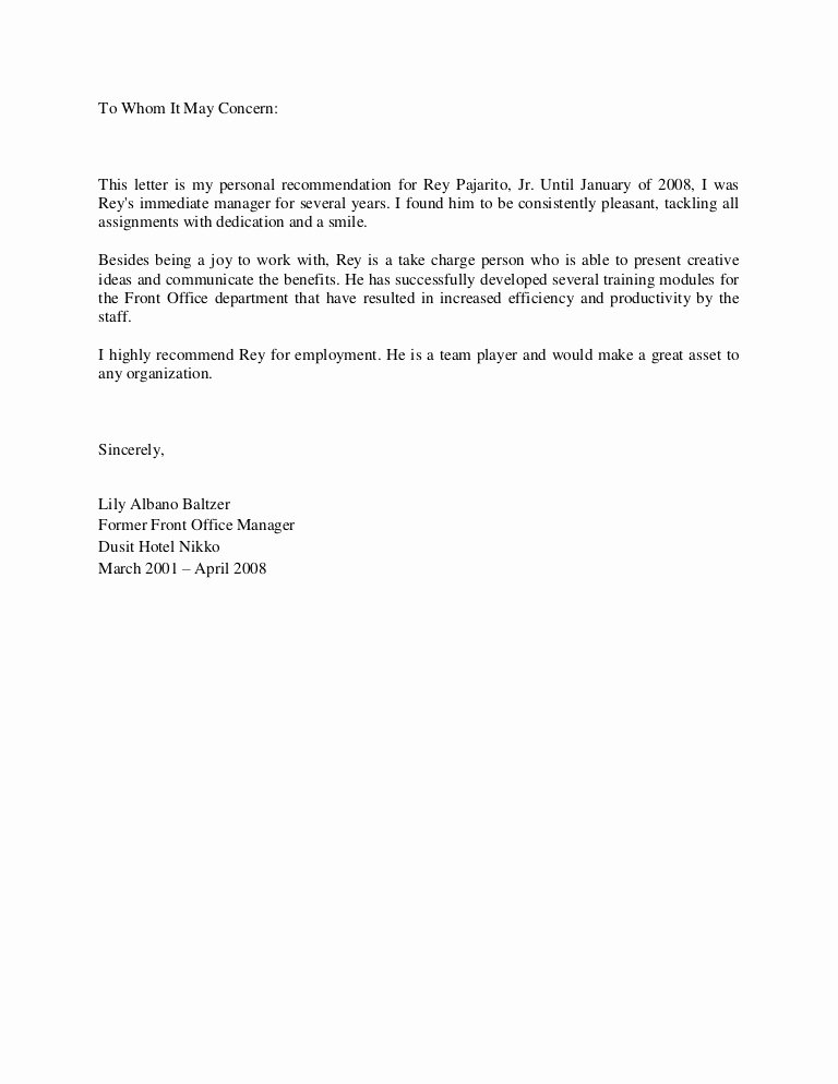 Letter Of Recommendation for Ms Luxury Letter Re Mendation From Ms Lily Albano Baltzer