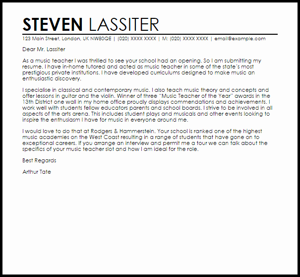 Letter Of Recommendation for Musician Beautiful Music Teacher Cover Letter Sample