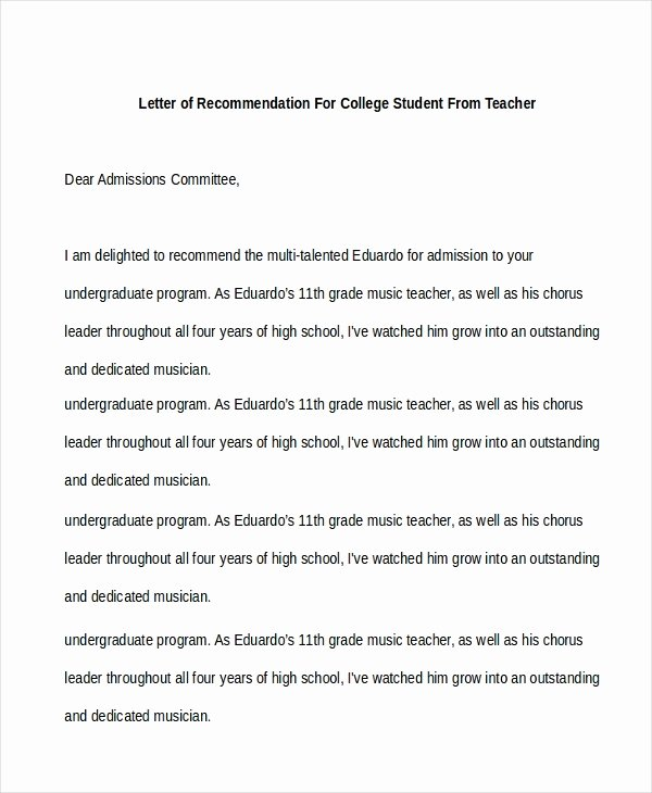 Letter Of Recommendation for Musician Inspirational Sample Re Mendation Letter for Student Free Documents
