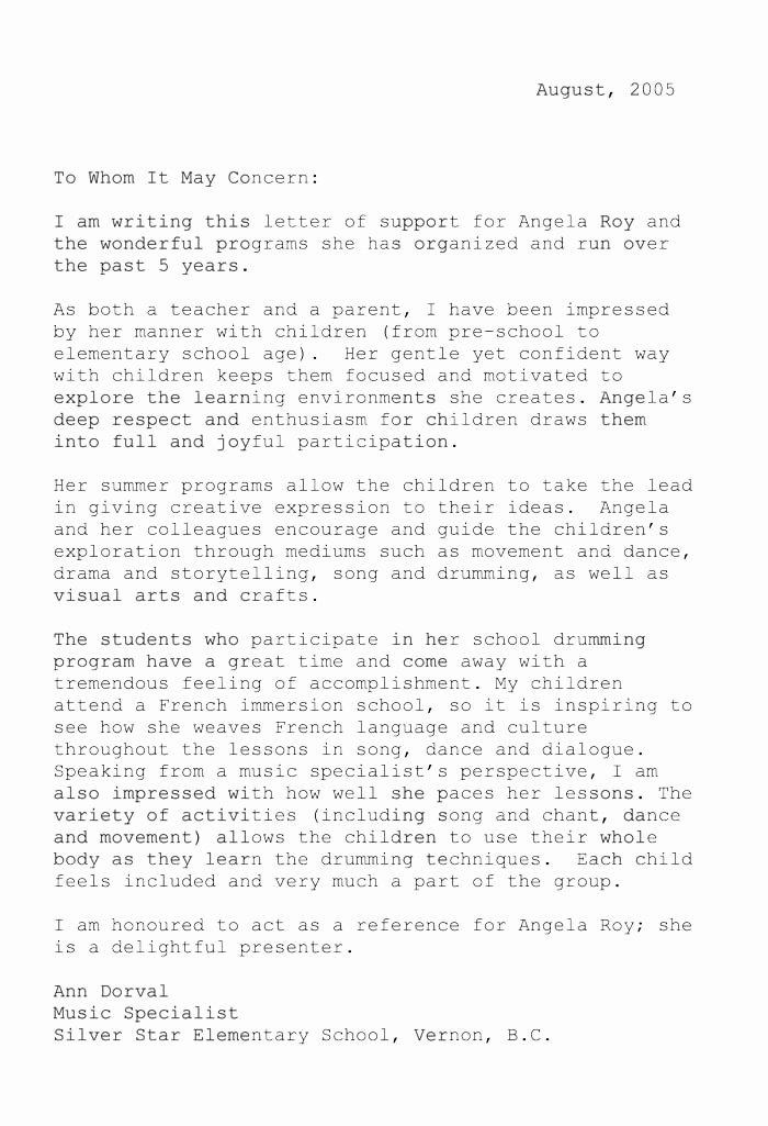 Letter Of Recommendation for Musician Lovely Angela Bio