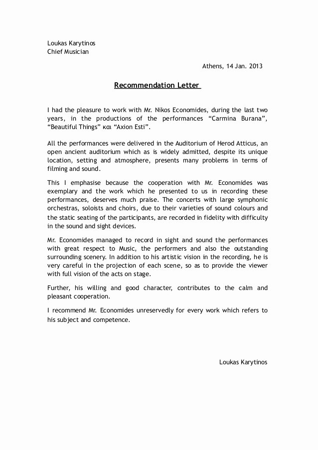 Letter Of Recommendation for Musician New Re Mendation Letter by Conductor Lucas Karytinos