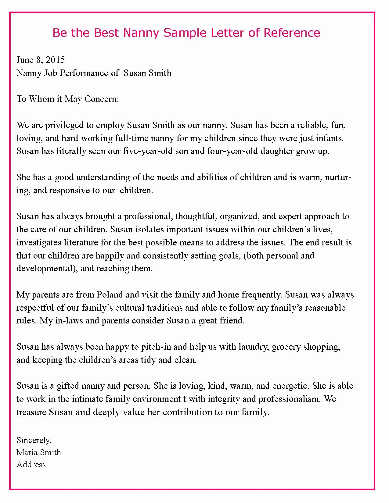 Letter Of Recommendation for Nanny Beautiful Helping Parents Write Letters Of Reference for their Nannies