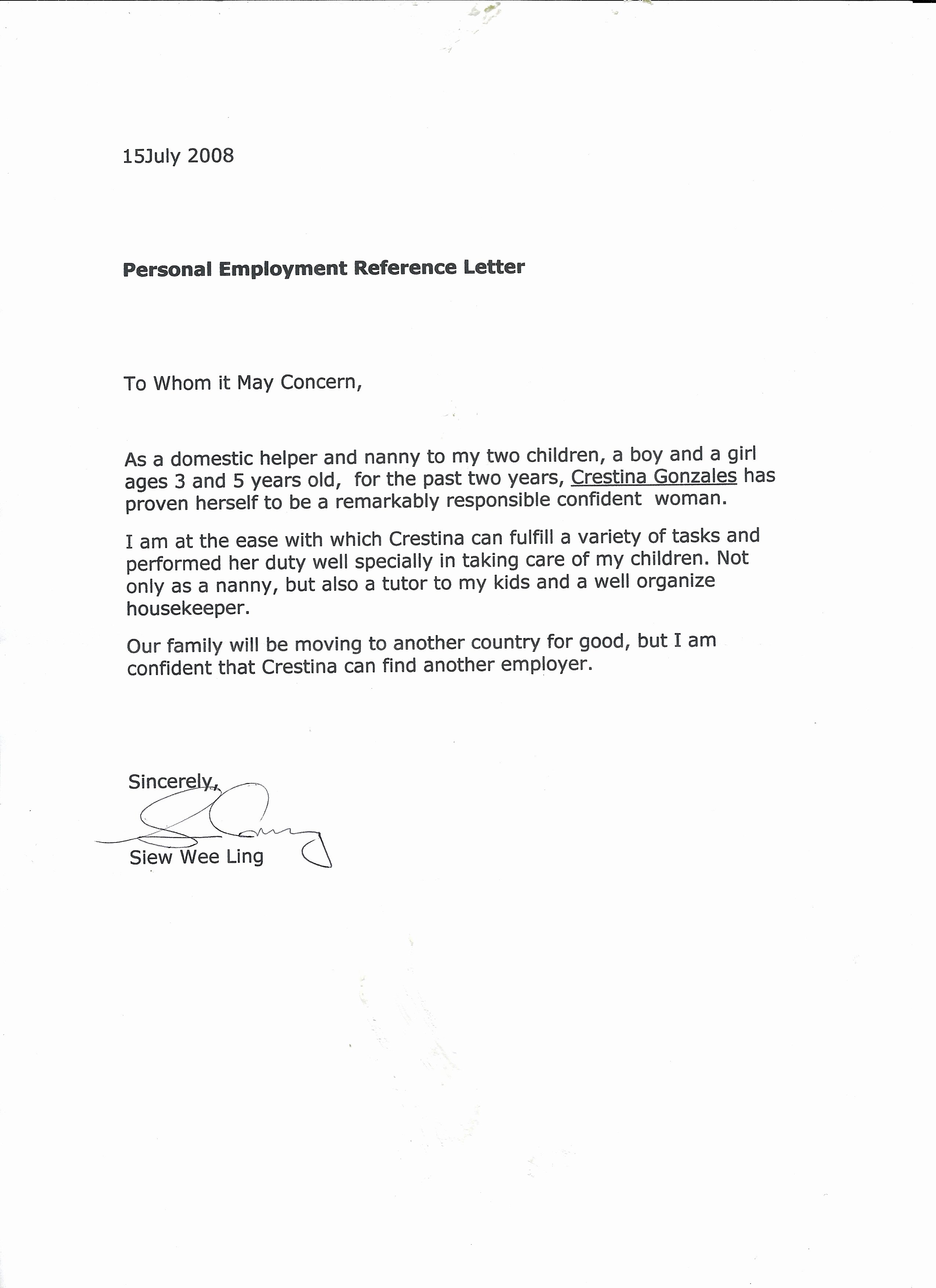 Letter Of Recommendation for Nanny Best Of Reference Letter Nanny Efimorena