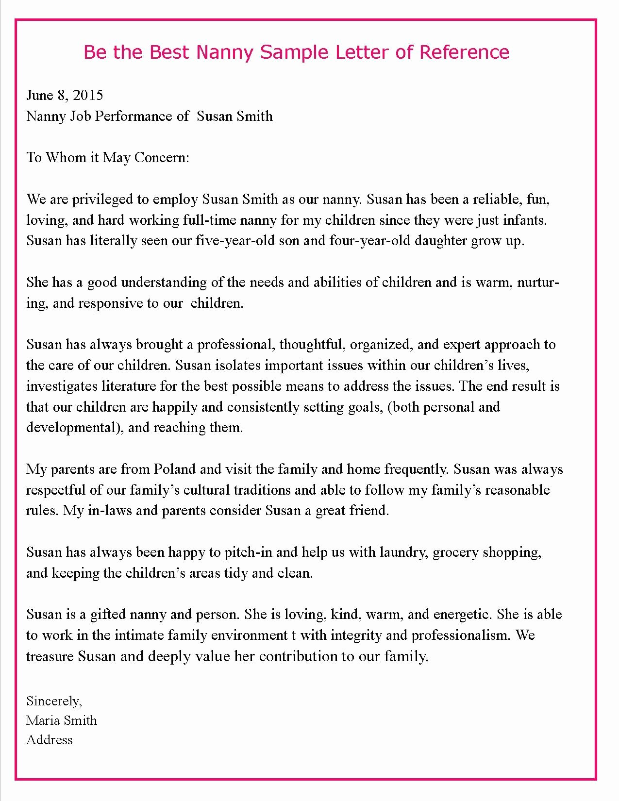 Letter Of Recommendation for Nanny Elegant Helping Parents Write Letters Of Reference for their Nannies