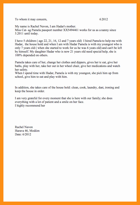 Letter Of Recommendation for Nanny Fresh Letter Of Re Mendation Nanny