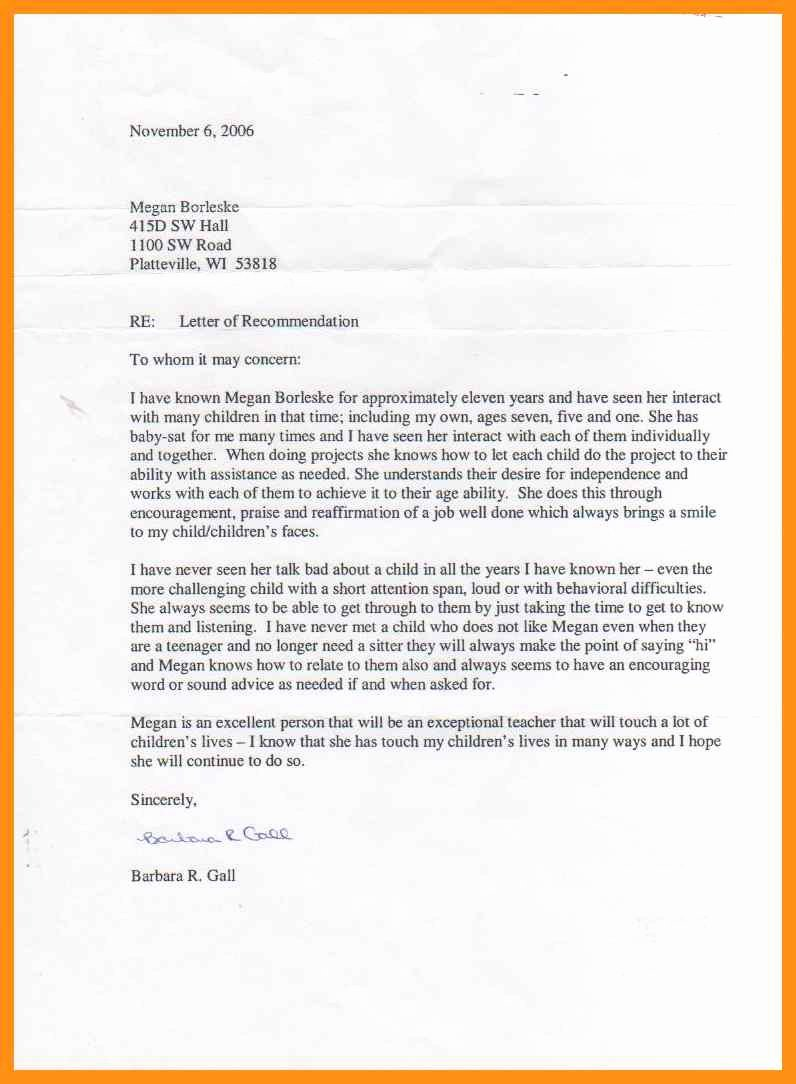 Letter Of Recommendation for Nanny Lovely Nanny Letter Of Re Mendation