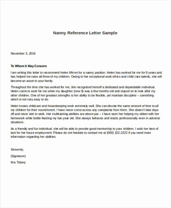 Letter Of Recommendation for Nanny New 5 Sample Nanny Reference Letters Pdf Word