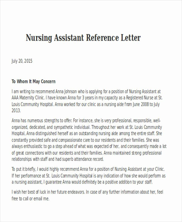 Letter Of Recommendation for Nurse Fresh Nursing Reference Letter Templates 12 Free Word Pdf