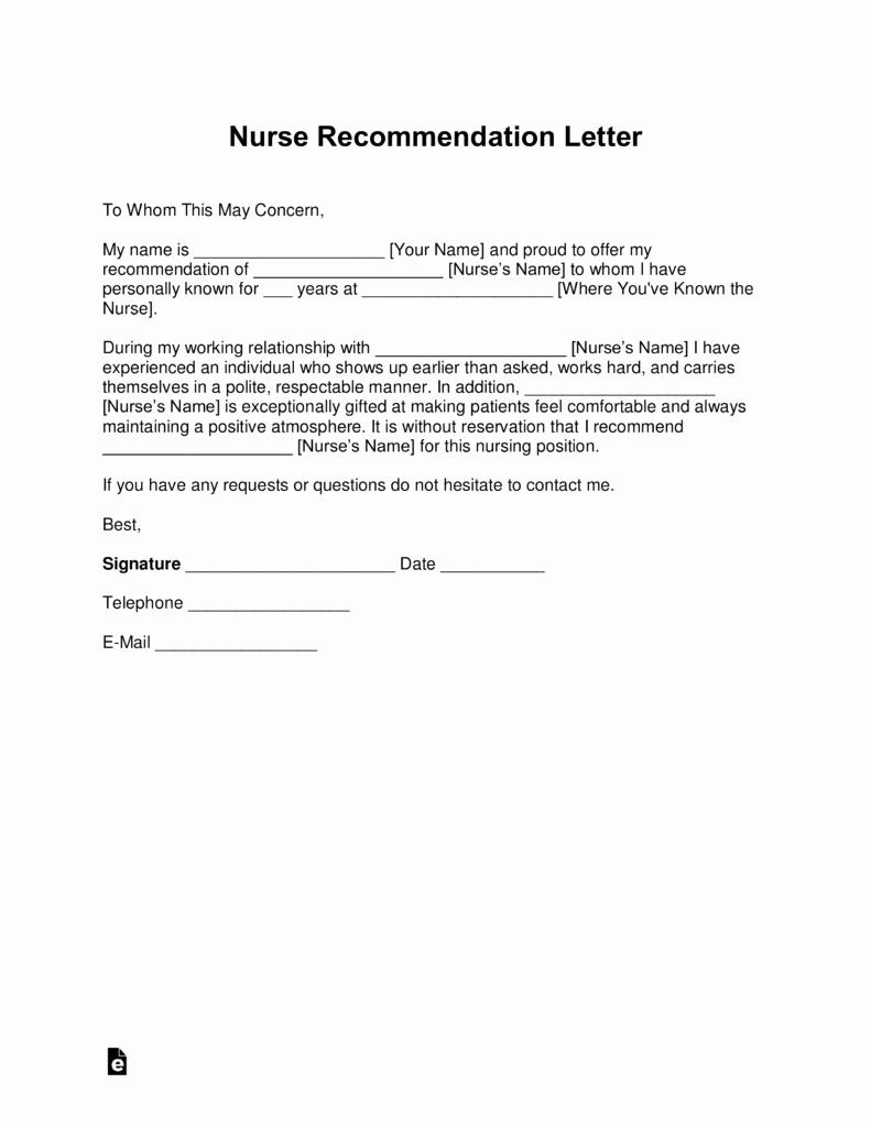 Letter Of Recommendation for Nursing Best Of Free Registered Nurse Rn Letter Of Re Mendation