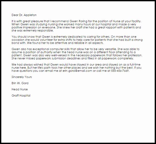 Letter Of Recommendation for Nursing Best Of Nurse Re Mendation Letter Example