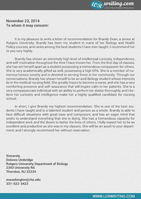 Letter Of Recommendation for Nursing Elegant Professional Medical School Re Mendation Letter Example