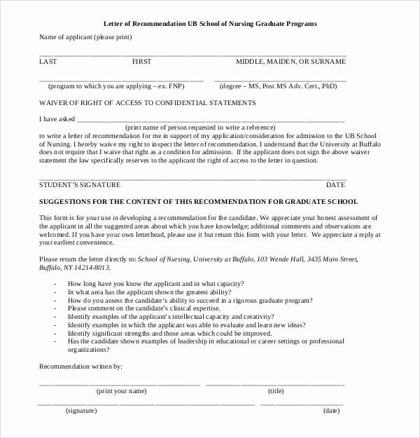 Letter Of Recommendation for Nursing New 44 Sample Letters Of Re Mendation for Graduate School