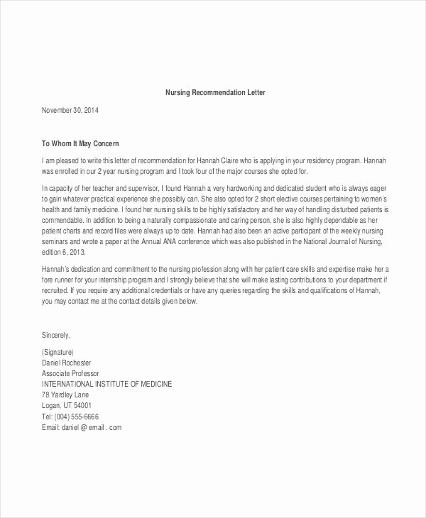 Letter Of Recommendation for Nursing Unique 40 Re Mendation Letter Templates In Pdf
