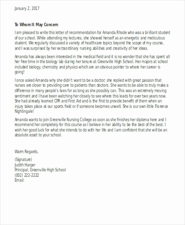 Letter Of Recommendation for Nursing Unique Letter Re Mendation Nursing School