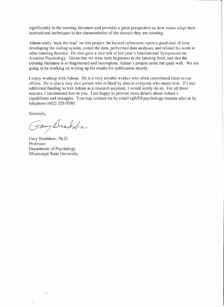 Letter Of Recommendation for Paraprofessional Fresh Letter Of Re Mendation
