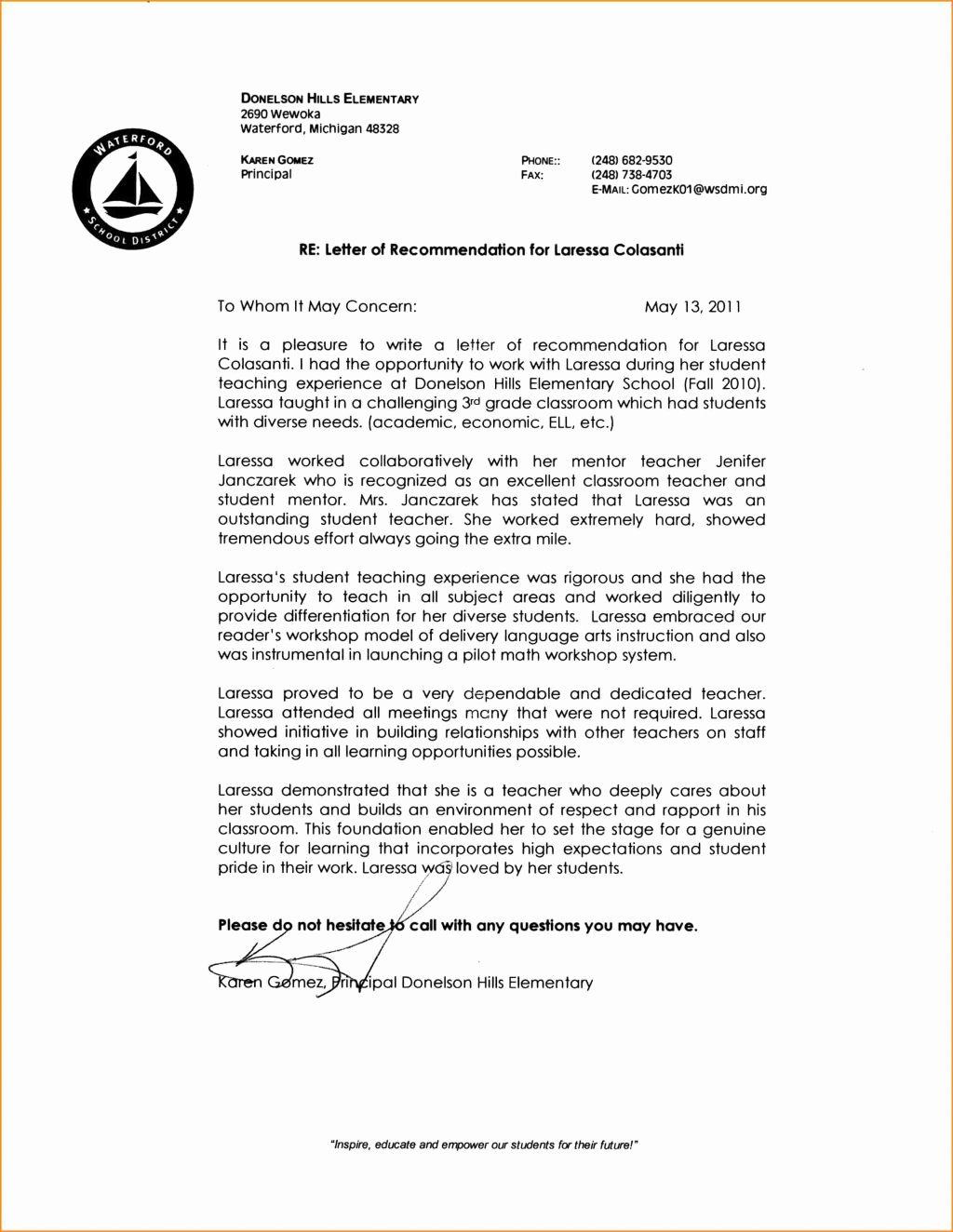 Letter Of Recommendation for Paraprofessional Inspirational Letter Of Re Mendation Paraprofessional