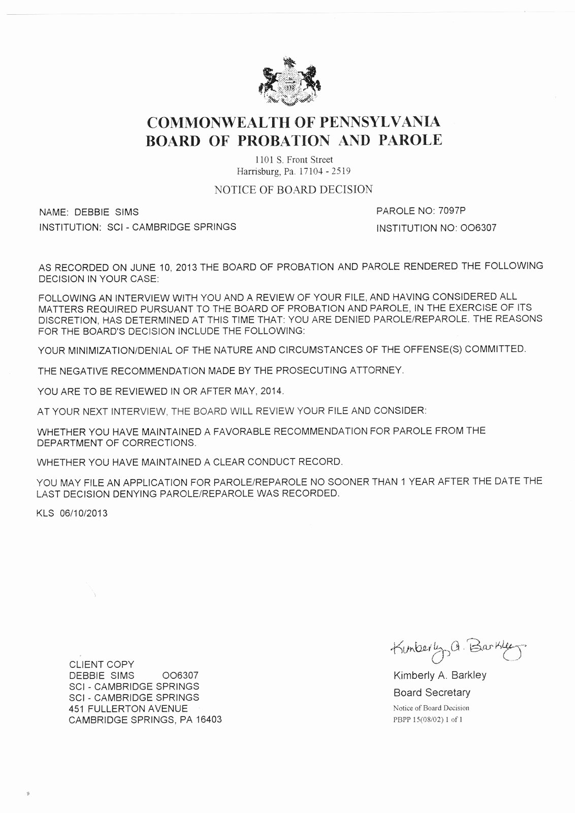 Letter Of Recommendation for Parole Beautiful Free the Move 9 Debbie S 2013 Parole Denial