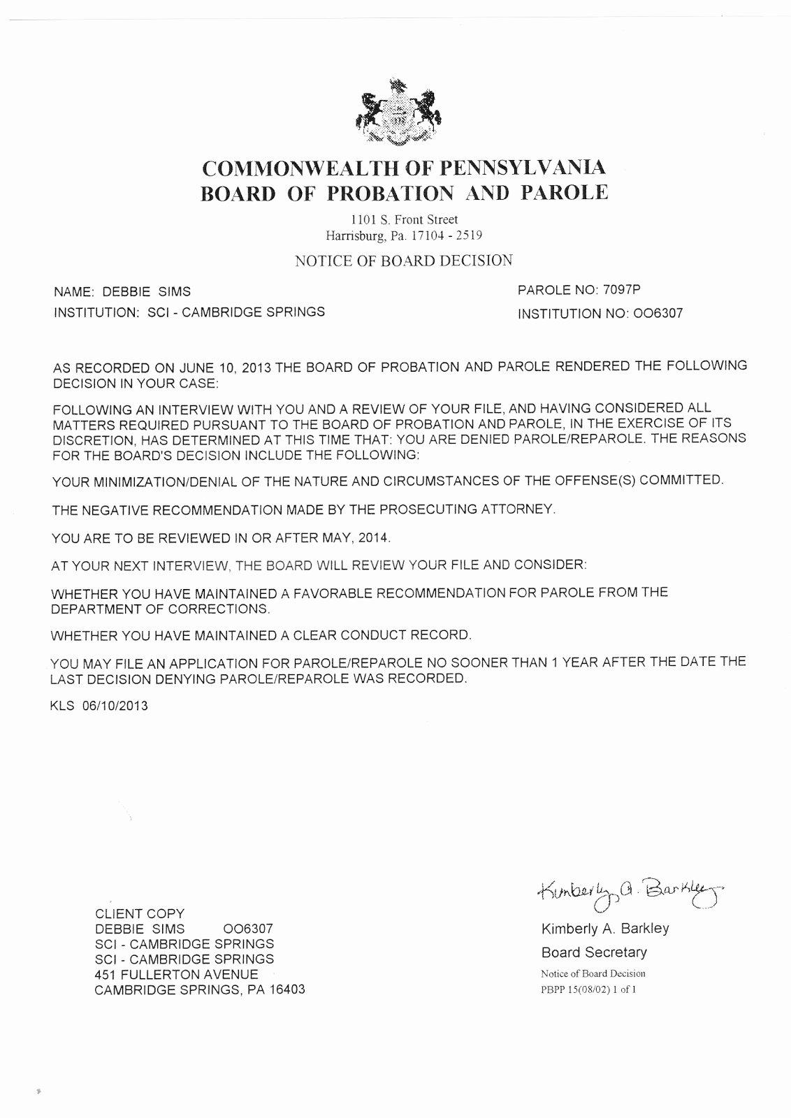 Letter Of Recommendation for Parole Beautiful Free the Move 9 Debbie S 2013 Parole Denial