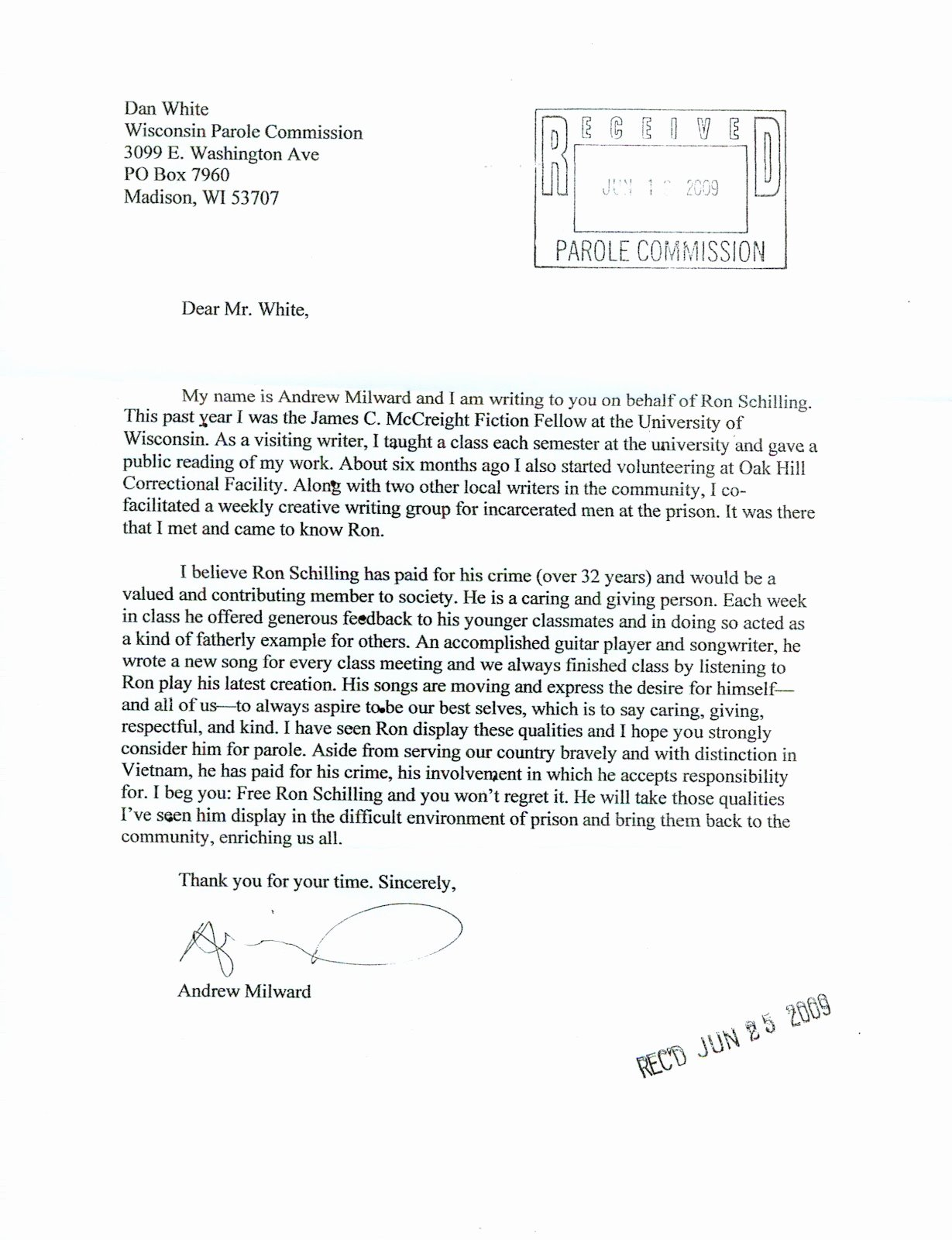 Letter Of Recommendation for Parole Elegant Free Ron Schilling