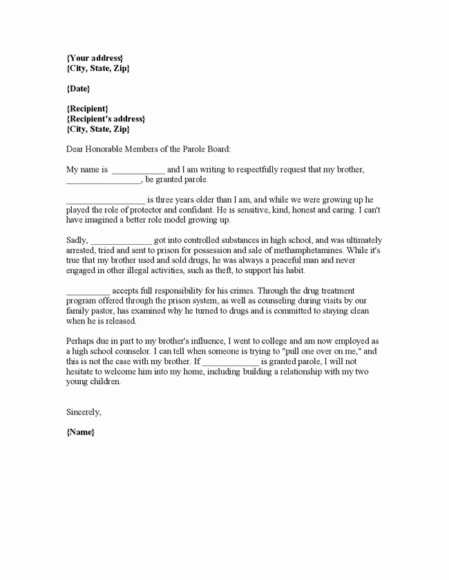 Letter Of Recommendation for Parole Unique Character Reference Letter