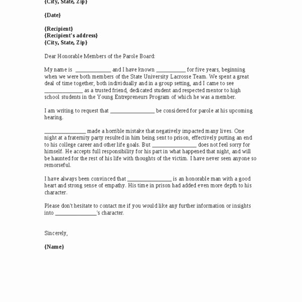 Letter Of Recommendation for Parole Unique Parole Letter Support Parole Board Support Letter