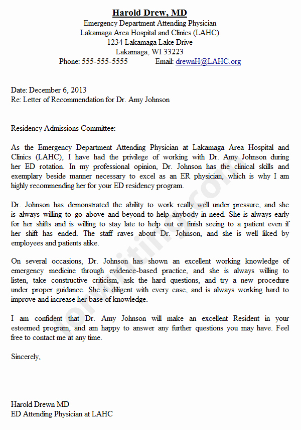 Letter Of Recommendation for Physician Awesome Professional Medical School Letter Of Re Mendation