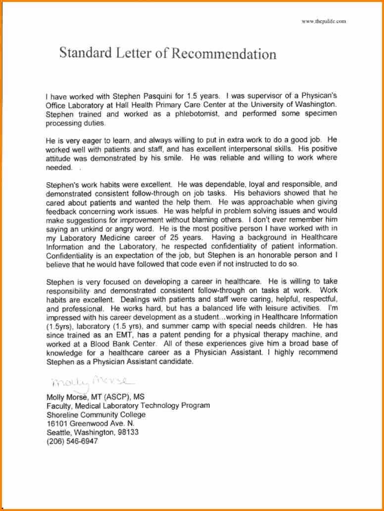 Letter Of Recommendation for Physician Beautiful 11 Re Mendation Letter for Medical School Sample