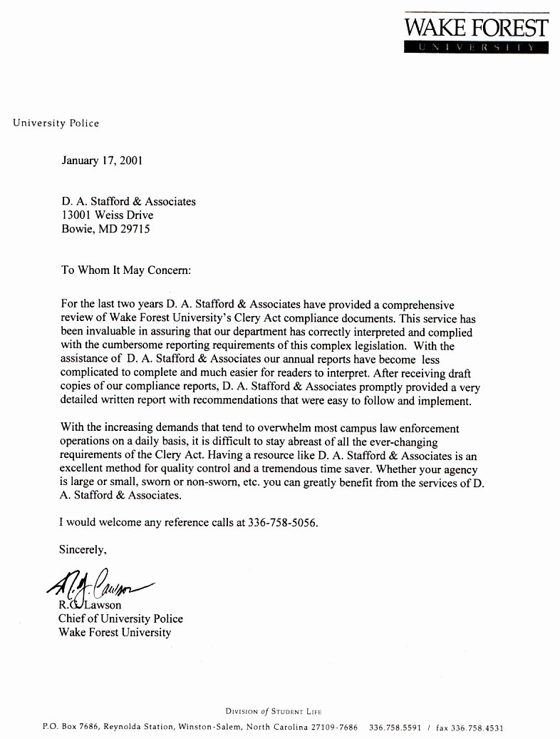 Letter Of Recommendation for Physician Inspirational About Clery Act Training & Campus Safety D Stafford