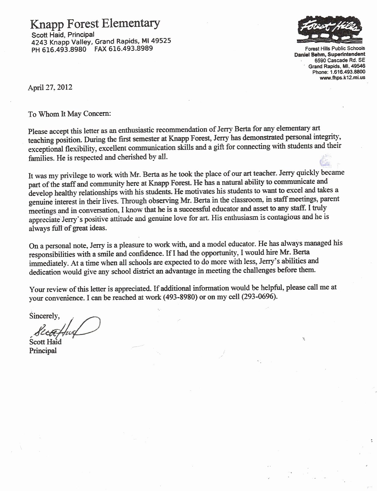 Letter Of Recommendation for Principal Awesome Valid Letter Re Mendation for A Teacher
