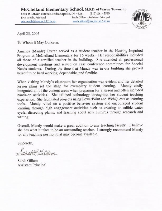 Letter Of Recommendation for Principal Beautiful Letters Re Mendation for Student Teacher