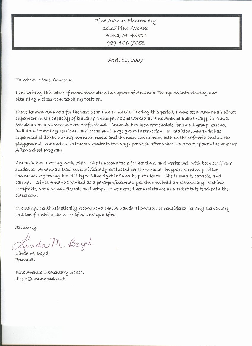 Letter Of Recommendation for Principal Best Of Documents