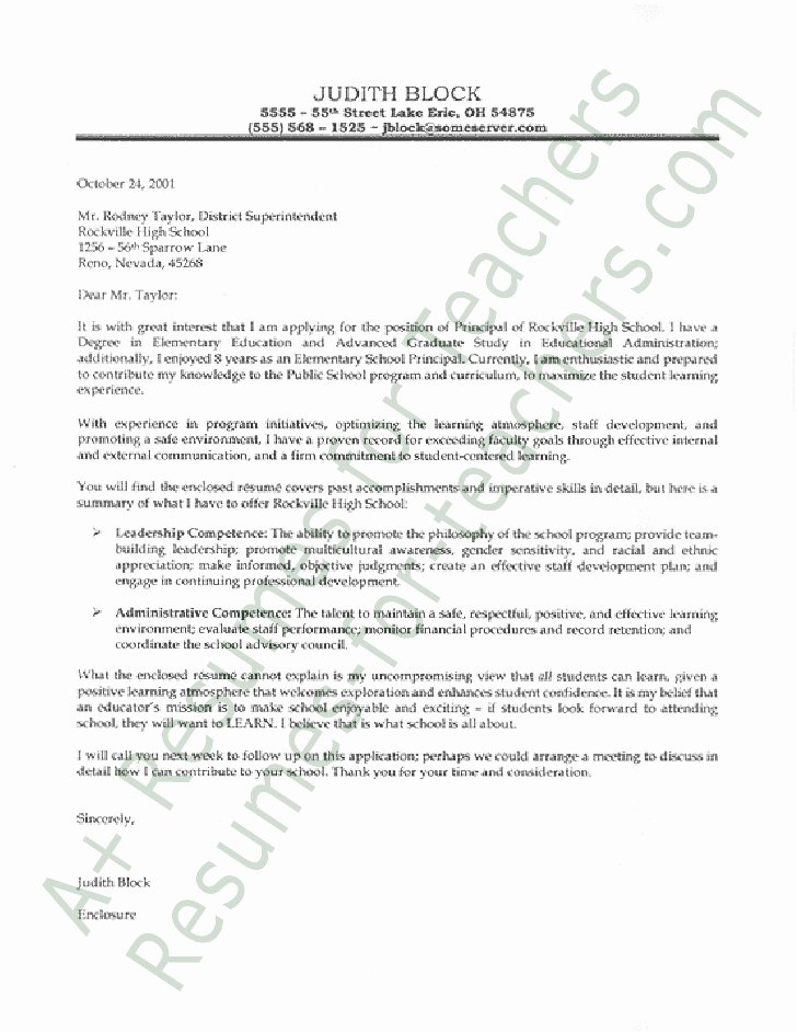 Letter Of Recommendation for Principal Best Of Principal Cover Letter