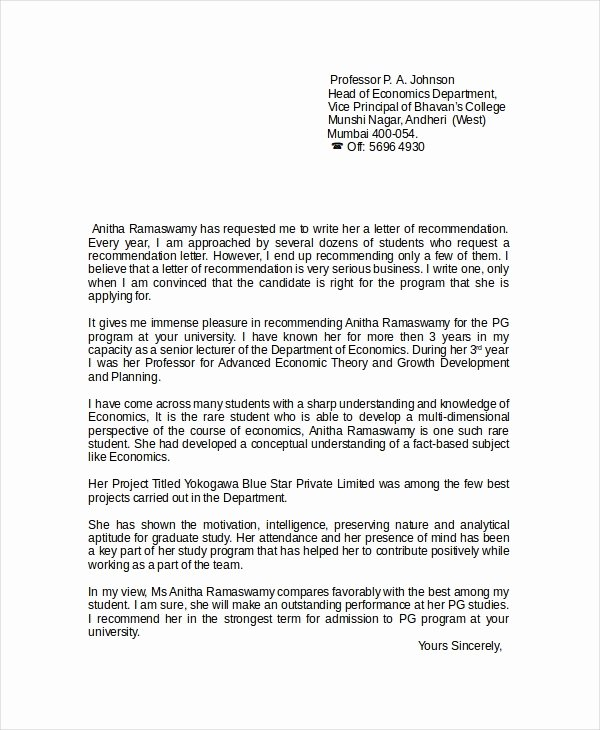 Letter Of Recommendation for Principal Inspirational 8 Reference Letter for Teacher Templates Free Sample