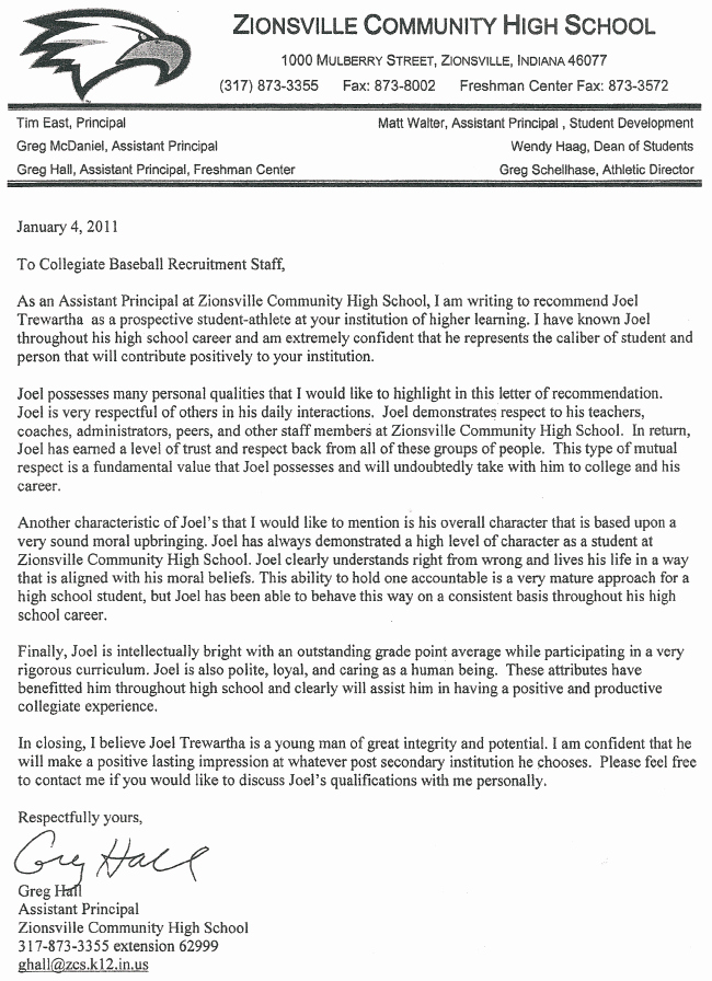 Letter Of Recommendation for Principal Inspirational Principal Hall S Letter Of Re Mendation Joel Trewartha