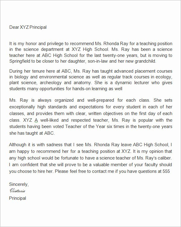 Letter Of Recommendation for Principal New 19 Letter Of Re Mendation for Teacher Samples Pdf Doc