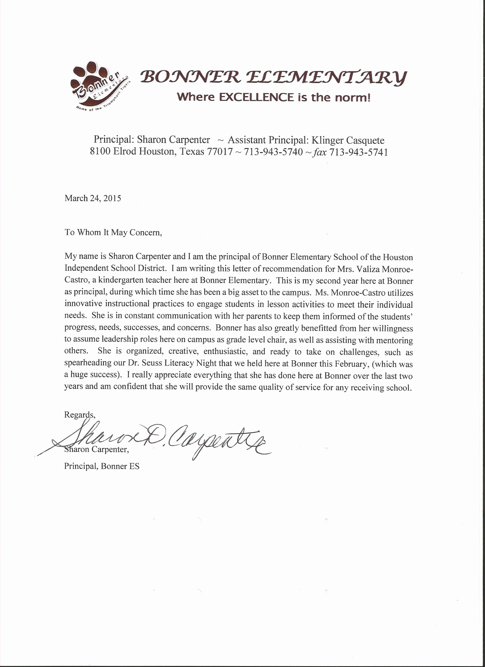 Letter Of Recommendation for Principal New About Me Valiza ortiz Monroe