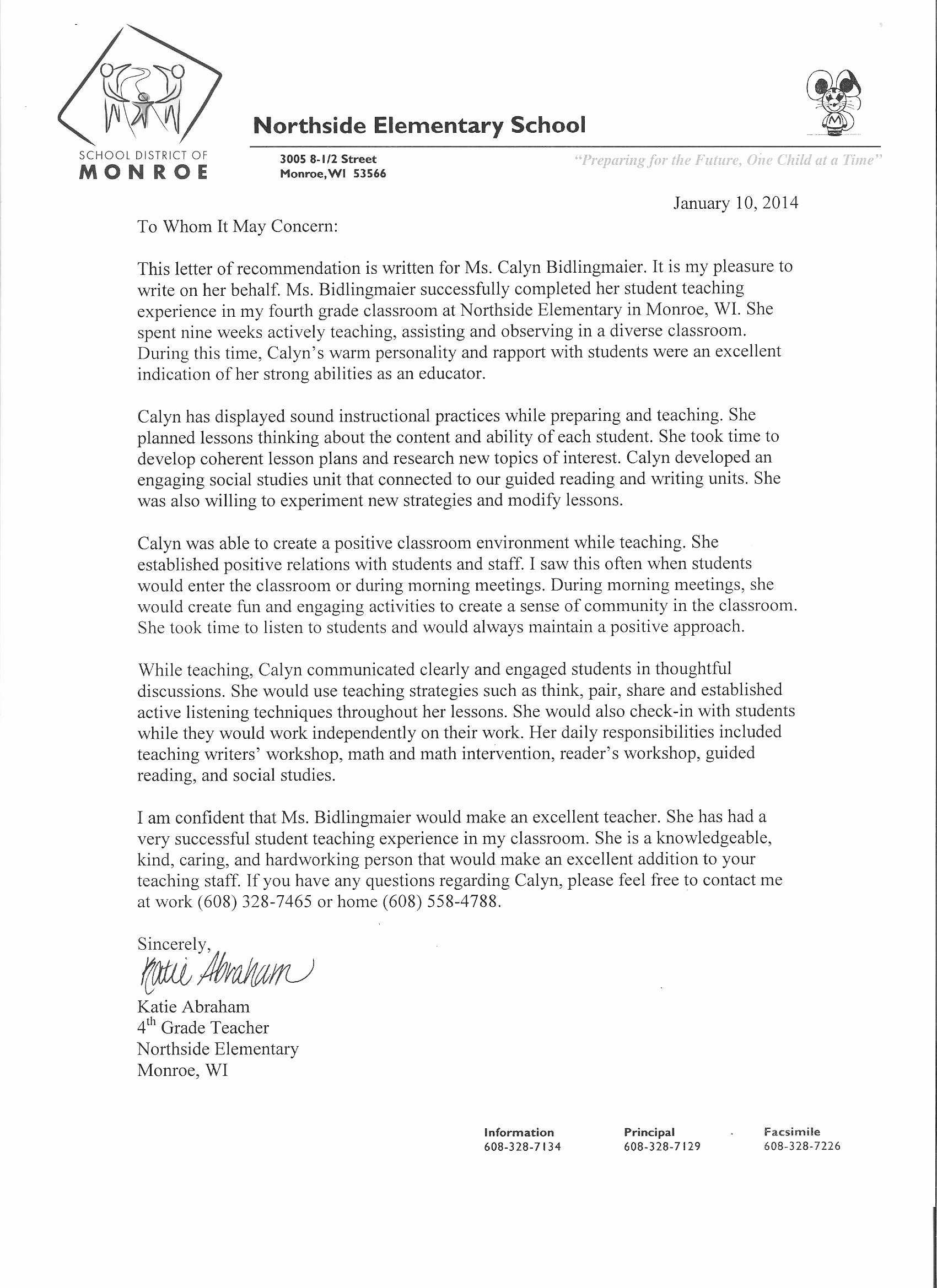 Letter Of Recommendation for Principal Unique Licensure Elements Calyn Bidlingmaier S Teaching Portfolio