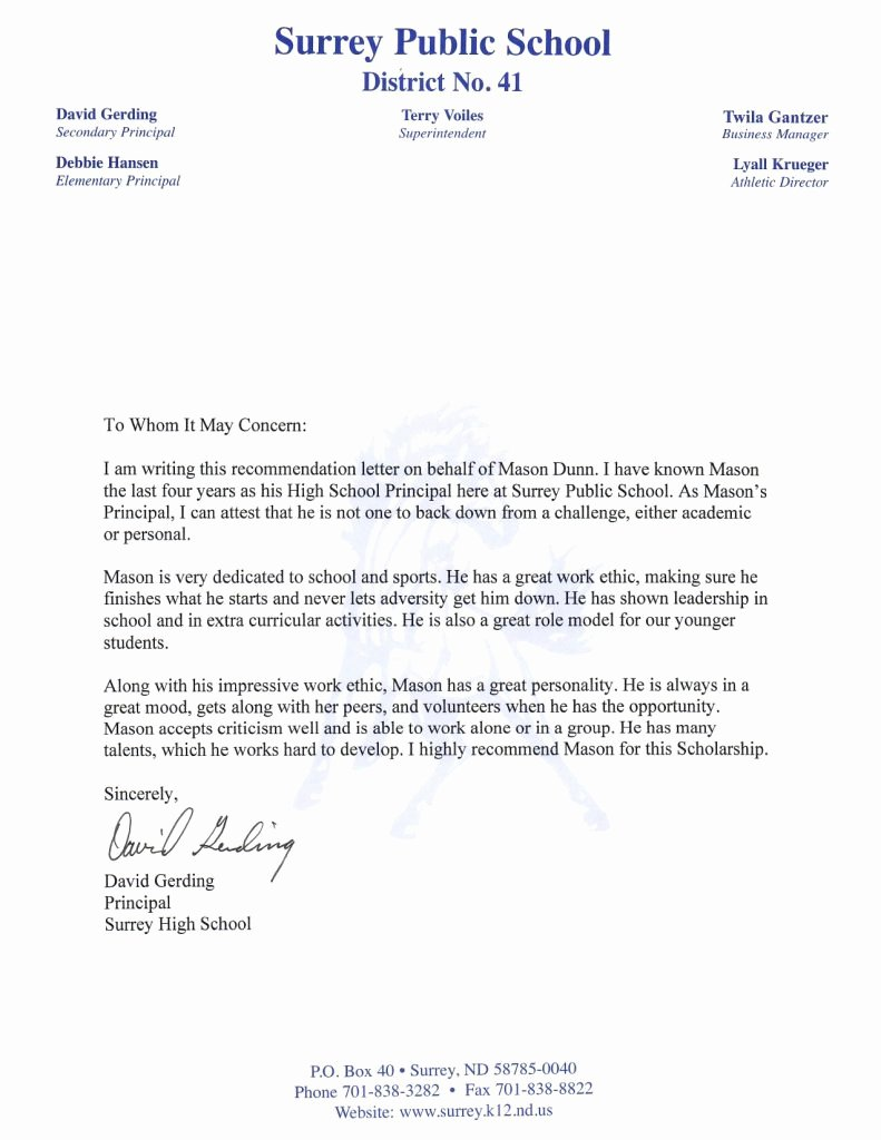 Letter Of Recommendation for Principals Awesome Re Mendation Letter Principal