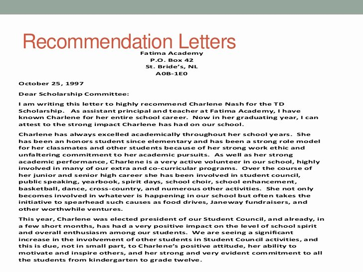 Letter Of Recommendation for Principals Beautiful Charlene Dohey
