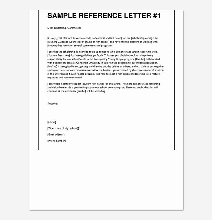 Letter Of Recommendation for Principals Elegant Scholarship Reference Re Mendation Letter Sample Letters